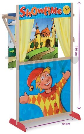 Drevené bábkové divadlo Puppet Theatre Eichhorn s rozprávkovou scénou a oponou 110 cm výška