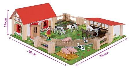 Drevená farma so zvieratkami Farmyard Small Eichhorn s dvoma budovami a dvorom 21 dielov