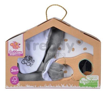 Drevená hrkálka s držadlom Bio 100% Natur Baby Pure Grasping Toy with Doudou Eichhorn s handričkou na maznanie a zrkadlom od 3 mes
