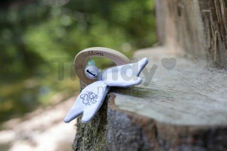 Drevená hrkálka so zvončekmi Bio 100% Natur Baby Pure Rattle Eichhorn s držadlom a plyšovými uškami od 3 mes