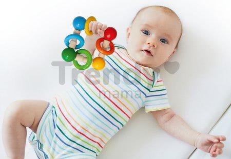 Drevená hrkálka Baby Eichhorn s guličkami a krúžkami od 3 mes