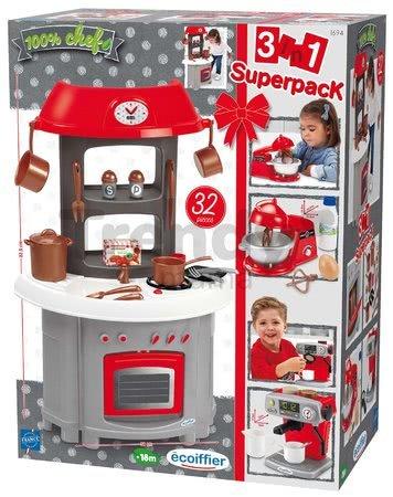 Kuchynka Superpack 3in1 Écoiffier s kávovarom a kuchynským robotom 32 doplnkov od 18 mes