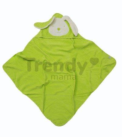 Osuška s kapucňou pre najmenších toTs-smarTrike zajačik 100% prírodná bavlna zelená od 0 mesiacov