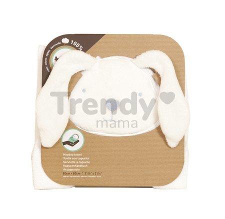 Osuška s kapucňou pre najmenších Classic toTs-smarTrike zajačik 100 % prírodná velúr bavlna biela od 0 mesiacov