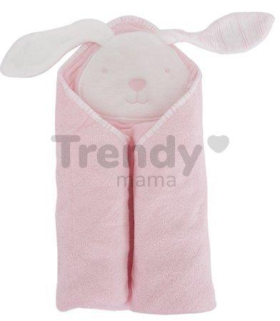 Osuška s kapucňou pre najmenších Classic toTs-smarTrike zajačik 100 % prírodná velúr bavlna ružová od 0 mesiacov