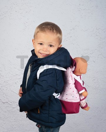 Batoh s nosičom pre 42 cm bábiku Violette Baby Nurse Smoby a s vreckom pre fľašku nastaviteľné ramienka