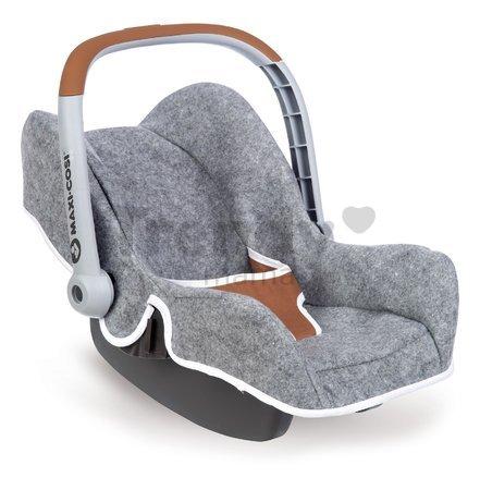 Autosedačka DeLuxe Maxi Cosi&Quinny Grey Smoby pre 42 cm bábiku s úložným priestorom a bezpečnostným pásom