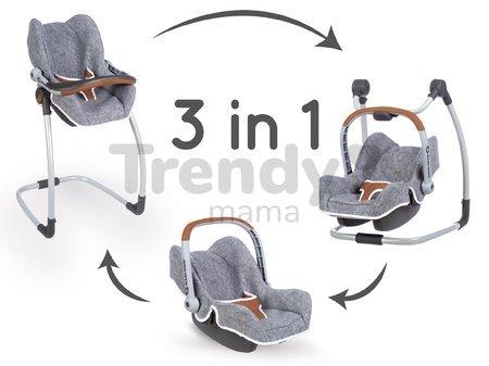 Jedálenská stolička s autosedačkou a hojdačkou DeLuxe Pastel Maxi Cosi&Quinny Grey Smoby trojkombinácia s bezpečnostným pásom