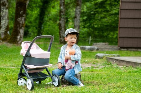 Kočík trojkombinácia Powder Pink 3in1 Maxi Cosi&Quinny Smoby hlboký a športový a prenosná postieľka pre 42 cm bábiku
