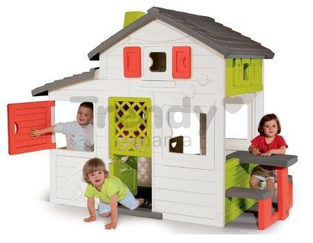 Domček Priateľov priestranný Neo Friends House Smoby so záhradkou rozšíriteľný 2 dvere 6 okien a piknik stolík 172 cm výška s UV filtrom
