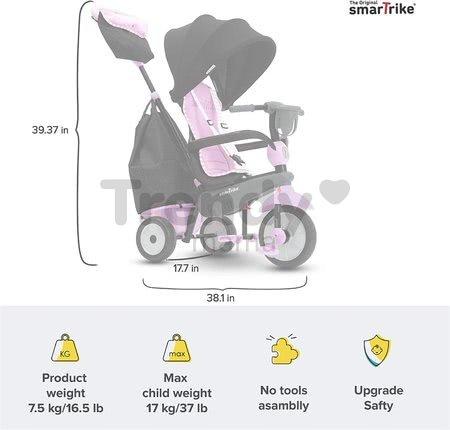 Trojkolka Swirl DLX 4v1 Grey&Pink TouchSteering smarTrike s tlmičom a voľnobehom + UV filter šedo-ružová od 10 mes