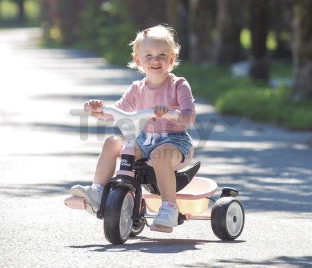 Trojkolka a kočík v jednom s brzdou Baby Driver Plus Pink Smoby s EVA kolesami a intuitívnym ovládaním ružová od 10 mes