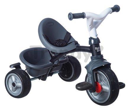Trojkolka a kočík v jednom s brzdou Baby Driver Plus Grey Smoby s EVA kolesami a intuitívnym ovládaním šedá od 10 mes