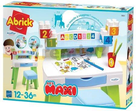 Stôl na kreslenie a tvorenie My Very First Desk Maxi Abrick Écoiffier so stoličkou a vymaľovánky s kockami od 12-36 mes