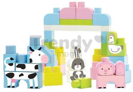 Stavebnica v dóze so zvieratkami Farm Animals Barrel Les Maxi Abrick Écoiffier ružová s 50 kockami od 12 mes