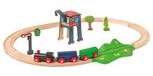 Drevená vláčkodráha Train Oval Eichhorn s troma vozňami mostom a doplnkami 18 dielov 205 cm dĺžka koľajníc od 3 rokov EH1261