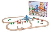 Drevená vláčkodráha Train Set with Bridge Eichhorn s 5 vozňami mostom a doplnkami 55 dielov 500 cm dĺžka koľajníc od 3 rokov EH1264