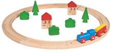 Drevená vláčkodráha Wooden Toy Eichhorn s doplnkami domčeky a stromy 20 dielov od 3 rokov EH2050-V