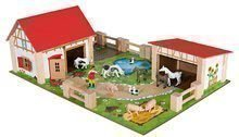 Drevená farma so zvieratkami veľká Farmyard Eichhorn s dvoma budovami a dvorom 21 dielov 36*51 cm EH4308