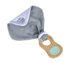 Drevená hrkálka s držadlom Bio 100% Natur Baby Pure Grasping Toy with Doudou Eichhorn s handričkou na maznanie a zrkadlom od 3 mes EH5710