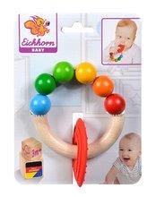 Drevená hrkálka s hryzátkom na krúžku Baby Eichhorn s farebnými guličkami od 3 mes