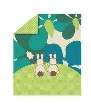 Păturică bebe Sateen Rabbits toT's smarTrike Iepuraş 100% bumbac satinat verde