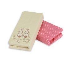 Cearşaf cu elastic pentru pat bebe toTs-smarTrike cu iepuraş 2 bucăţi 100% bumbac satinat roz