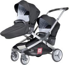 Cărucior Evolutwin® pentru doi bebeluși Red Castle negru, reglabil, cu echipament complet și husă im