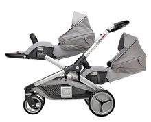 Kočík pre dve deti Red Castle Evolutwin® Grey polohovateľný s kompletnou výbavou a pršiplášťom