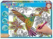 Puzzle Carte de colorat Colibri Doodle Art Educa 300 de piese de la vârsta de 11 ani