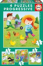 Dětské puzzle Zvířátka na farmě Educa 6-9-12-16 dílků ( progressive) EDU17145