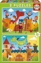 Puzzle de poveste pentru copii Balaur şi cavaler Educa 2x48 piese