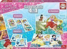 Puzzle copii Prinţese Disney SuperPack 4in1 Educa progresiv 2x puzzle, 1x domino şi pexeso