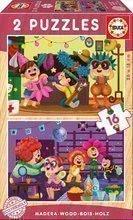 Detské drevené puzzle Karneval Educa 2x16 dielov od 4 rokov