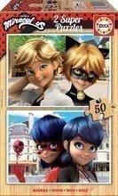Drevené puzzle Miraculous Ladybug Educa 2x50 dielov EDU17956