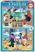 Detské puzzle Letisko a Vlaková stanica Educa 2x48 dielov