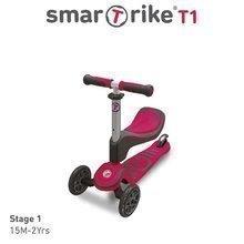 Trotinetă şi babytaxiu T1 smarTrike 3in1 cu sistem T-lock, cu scaun reglabil şi cu ghidon gri-roz de