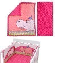 Garnitură de pat bebe Joy toTs-smarTrike hipopotam pătură, cearşaf şi protector de cap 100% bumbac s