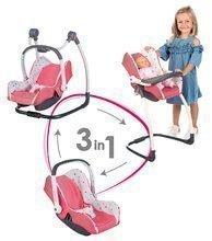 3-kombinácia hojdačka autosedačka stolička Trio Pastel Maxi Cosi&Quinny Smoby pre bábiku ružová troj