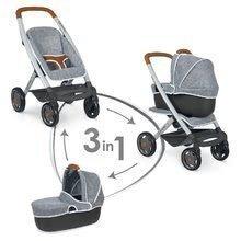 Kočík hlboký a športový DeLuxe Maxi Cosi & Quinny Grey Smoby 3v1 s nosítkom pre bábiku šedý