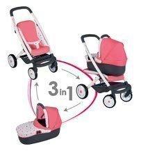 Kočík hlboký a športový Trio Pastel Maxi Cosi & Quinny Smoby 3v1 s nosítkom pre bábiku ružový vzorov