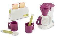 Detský raňajkový set s kávovarom a toasterom Mini Tefal Smoby bielo-bordový