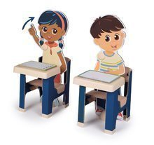 Školská lavica so žiakmi Classroom Smoby dva stoly a dve deti s pohyblivými rukami