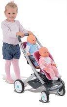 Kočík pre dve bábiky Maxi Cosi & Quinny Twin Smoby (65,5 cm rúčka) ružovo-šedý