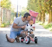 Trojkolka a kočík v jednom s vysokou opierkou Baby Balade Plus Tricycle Pink Smoby s brzdou a EVA kolesami ružová od 10 mes