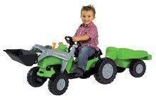 Detský traktor na šliapanie Jimmy BIG s nakladačom a vlečkou zelený