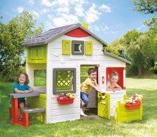 Domček Priateľov vynovený Neo Friends House Smoby so záhradkou rozšíriteľný o odkvap lampu slnečník a iné doplnky 172 cm výška s UV filtrom