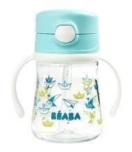 Fľaša bidon zo skla Beaba Straw Cup 240 ml so slamkou na pitie bledomodrá od 8 mesiacov BE913449