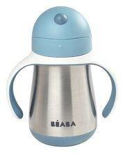 Fľaša Bidon s dvojitými stenami Stainless Steel Straw Cup Beaba Windy Blue 250ml modrá z nehrdzavejúcej ocele od 8 mes