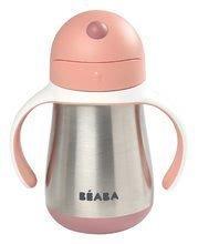 Fľaša Bidon s dvojitými stenami Stainless Steel Straw Cup Beaba Old Pink 250ml ružová z nehrdzavejúcej ocele od 8 mes